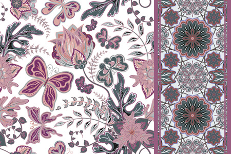 lilas: Vector floral set pattern with hand draw fantasy flowers and butterfly and seamless border (strip band ribbon) for your design. Illustration