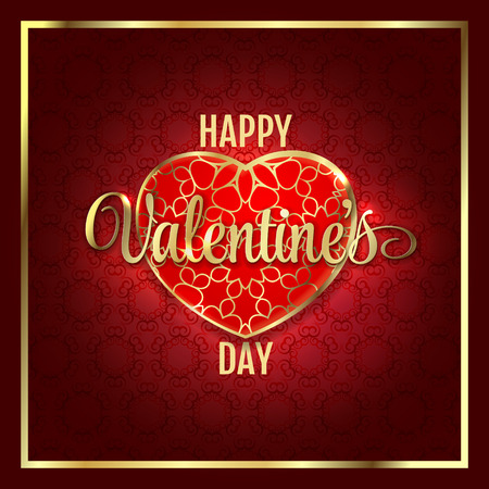 creative background: Valentines day abstract background with red gold heart. Vector illustration
