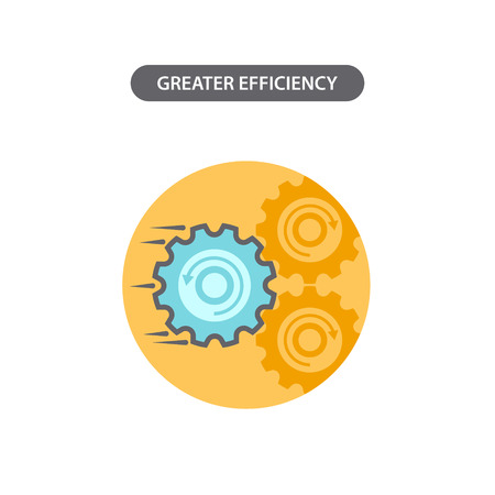 greater: Line icon with flat design elements of business concept  greater efficiency. Modern vector pictogram