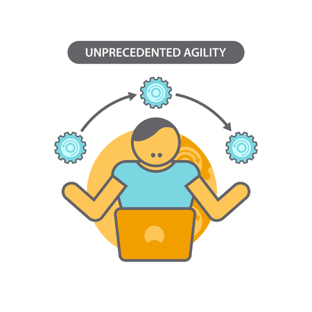 Line icon with flat design elements of business concept unprecedented agility. Modern vector pictogram Illustration