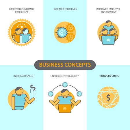 reduced: Line icons set with flat design elements of business concepts, improved customer experience, greater efficiency, improved employee engagement, increased sales, unprecedented agility, reduced costs. Modern vector pictogram collection concept.