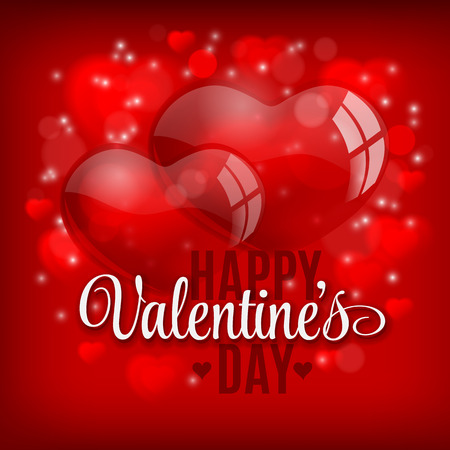 red balloons: Valentines day vector background with heart balloons on red field.