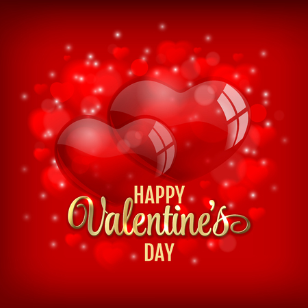 concept day: Valentines day greeting with red heart baloons and golden lettering on red shiny background- vector illustration