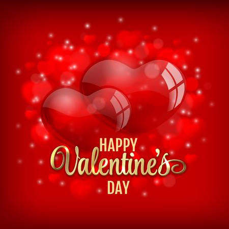 Valentinstag mit roten Herzen baloons und goldenen Schriftzug auf rot glänzenden Hintergrund-Vektor-Illustration Gruß Standard-Bild - 49477851