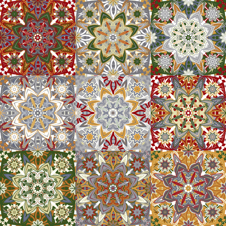 Islamic damask patchwork backgrounds colorful set, beautiful ornamentation, fashioned seamless patterns, vector wallpapers, floral wrapping papers, swatch fabrics for decoration and design