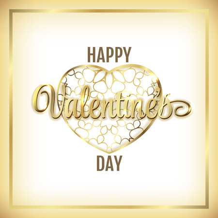 gold heart: Happy Valentines Day Hearts Vector Illustration. Gold heart and lettering on white background