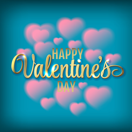 windy day: Hearts shaped clouds in the blue sky. Gold lettering. Valentine`s day illustration Illustration
