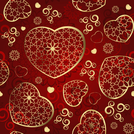 pretty s shiny: Seamless wallpaper with gold hearts on a red background Illustration