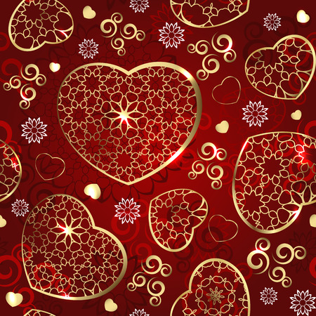 valentine s card: Seamless wallpaper with gold hearts on a red background Illustration