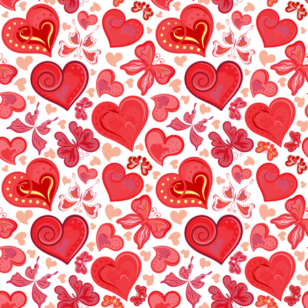 Seamless valentine pattern with colorful vintage pink butterflies, flowers and hearts. Vector illustration.