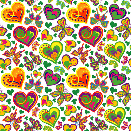 love image: Seamless valentine pattern with colorful vintage colorful butterflies, flowers, hearts on white background. Vector illustration