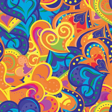 Heart blue, orange and yellow pattern. Vector seamless background