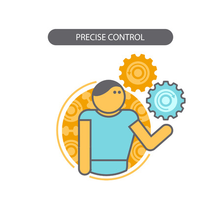 precise: Line icon with flat design elements of business concepts, precise control. Modern vector pictogram