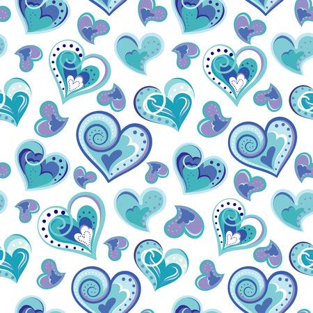 corazones azules: Modelo inconsútil romántico con los corazones del drenaje de la mano de colores. corazones azules sobre fondo blanco. Ilustración del vector.