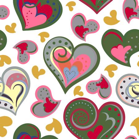 Liefde harten naadloze patroon. Schattig doodle hart. Romantische hand getrokken achtergrond. Vector illustratie