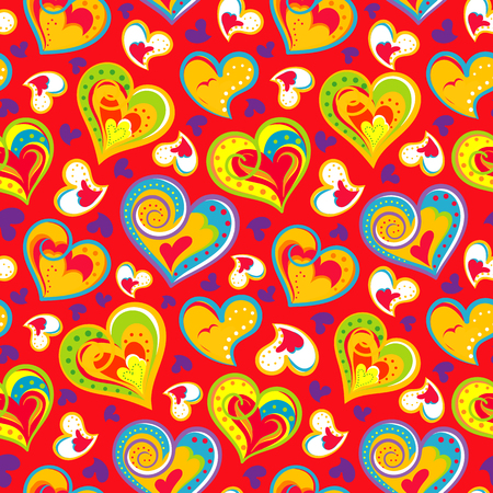 dearness: Hand drawn doodle seamless pattern of hearts. Colofrul hearts on red background. Vector illustration