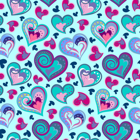 colofrul: Hand drawn doodle seamless pattern of hearts. Colofrul hearts on blue background. Vector illustration Illustration