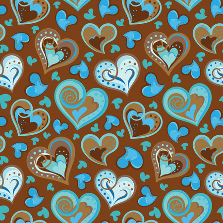 colofrul: Hand drawn doodle seamless pattern of hearts. Colofrul hearts on  light chocolate background. Vector illustration Illustration