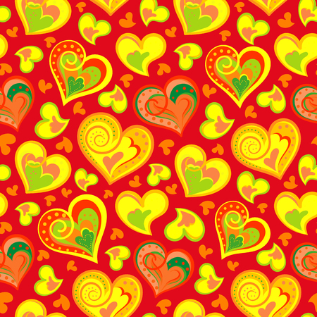 colofrul: Hand drawn doodle seamless pattern of hearts. Colofrul hearts on colored background. Vector illustration. Yellow hearts on red backdrop.