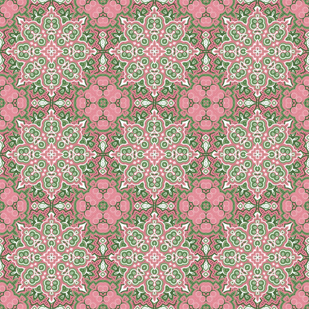 morris: Seamless vector colorful pattern. East tender ornament colorful details on the turquoise background. Tracery of mandalas for textile.