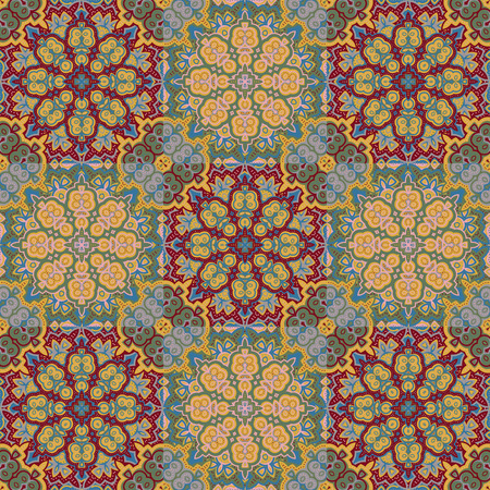 floor covering: Vector bright pattern. East ornament with contour and colorful details on the turquoise background. Template for any surface. Elegant backdrop with oriental ornaments of mandalas.
