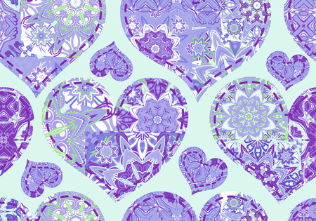 snippet: Seamless pattern with collection violet hearts in vintage patchwork style.