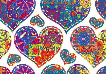 tarjeta de invitacion: patr�n de D�a de San Valent�n sin fisuras con corazones de patchwork Vectores