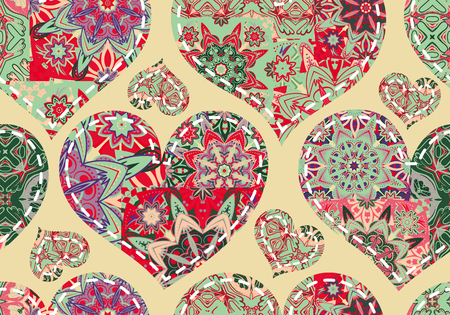 invitation background: Seamless Valentines Day pattern with pastel patchwork hearts