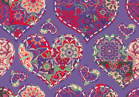 illustration editable: Seamless Valentines Day pattern with pastel patchwork hearts on violet background