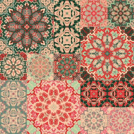 Seamless background pattern. Ornate patchwork in floral style Illustration