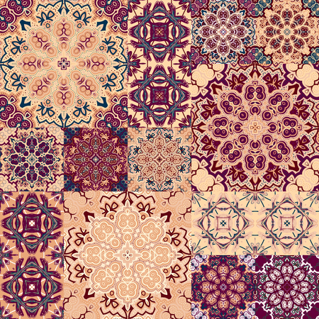Large set of colorful vintage ceramic tiles with ornate Moroccan patterns. Backgrounds and textures shop Фото со стока - 49619800