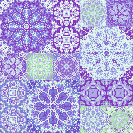 decorative pattern: Seamless background pattern. Ornate patchwork in floral style Illustration