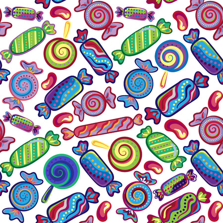 gummy: Cute seamless pattern with colorful sweets. Seamless different sweets pattern. Assorted candies background. Illustration