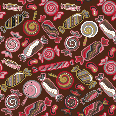 sweetmeat: Seamless pattern vector  background with lollipops and candies. Vector seamless background with colorful candies.