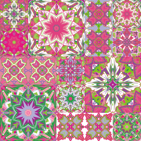 patchwork background: Seamless patchwork background. Oriental ornament motifs. Colorful bright ornaments. Vector illustration