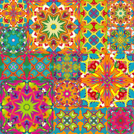 endlessly: Seamless background pattern. Will tile endlessly. Patchwork pattern