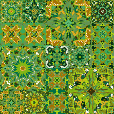 country style: Seamless vector  patchwork tile with Victorian motives.  Background set with colorful ornament. Country style.