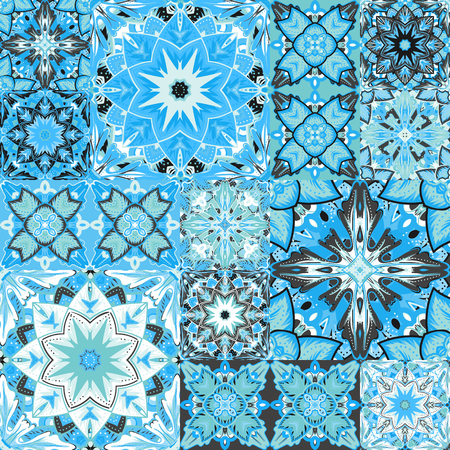 Set of seamless blue and gray patchwork patterns from colorful Moroccan, Portuguese  tiles, Azulejo, ornaments. Can be used for wallpaper, pattern fills, web page background,surface textures. Illustration