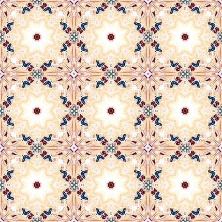 encaustic: Seamless pastel Damask Background Pattern Design and Wallpaper Made of Turkish Texture Ceramic Tiles in Vector Illustration