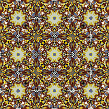 encaustic: Seamless brown Damask Background Pattern Design and Wallpaper Made of Turkish Texture Ceramic Tiles in Vector Illustration