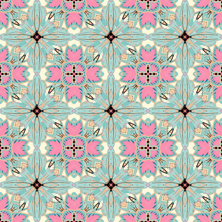 cross linked: Vector abstract seamless patchwork background from pink gray blue and white ornaments, geometric Moroccan patterns, stylized flowers and leaves