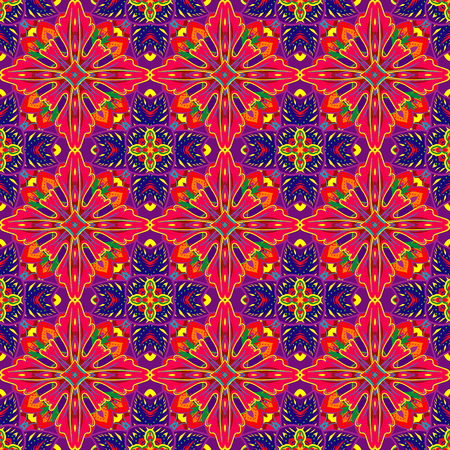 cross linked: Vector abstract seamless patchwork background from red and blue ornaments, geometric Moroccan patterns, stylized flowers and leaves