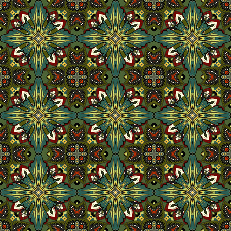 patchwork background: Vector abstract seamless patchwork background from dark green ornaments, geometric Moroccan patterns, stylized flowers and leaves Illustration