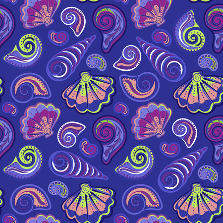 summer's: Seamless pattern of hand drawn seashells. Vector summers childrens doodle background.