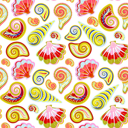 oceanic: Hand draw colorful sea shells pattern. Seamless texture with hand painted oceanic life objects. Vector summer background