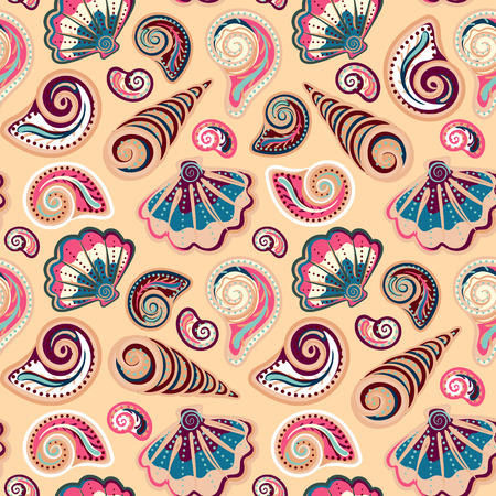 sand background: Seamless pattern with shells. Summer vector colorful background. Hand draw colorful sea shells backdrop Illustration