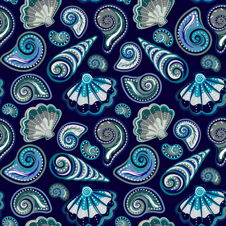 Sea seamless pattern. Original hand drawn illustration in vintage style. Beach Seashell Pattern. Seamless pattern with seashells doodle.