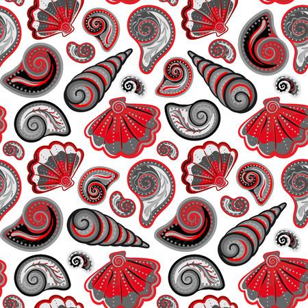 seashell: Sea seamless pattern. Original hand drawn illustration in vintage style. Beach Seashell Pattern. Seamless pattern with seashells doodle.