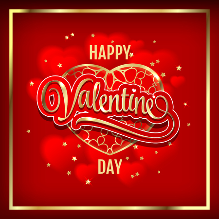 Happy Valentines Day Gold line Hearts Vector Illustration on red background. Greeting card