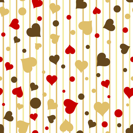 Seamless vintage love red and gold heart background in white. Great for baby announcement, Valentines Day, Mothers Day, Easter, wedding, scrapbook, gift wrapping paper, textiles. Illustration